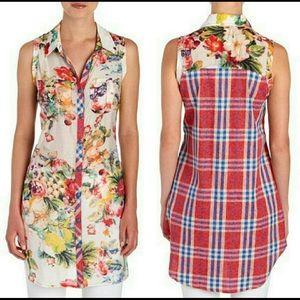 Anthropologie Cyrena Floral Plaid Tunic Dress XL
